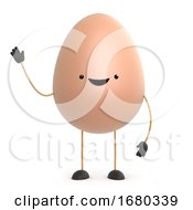 Poster, Art Print Of 3d Cute Toy Egg Waves Hello