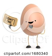 Poster, Art Print Of 3d Cute Toy Egg Has A Ticket For Admission