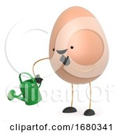 Poster, Art Print Of 3d Cute Toy Egg With Watering Can