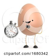 Poster, Art Print Of 3d Cute Toy Egg Has A Stopwatch