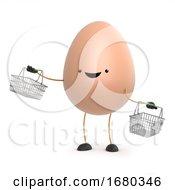 Poster, Art Print Of 3d Cute Egg Man Goes Shopping