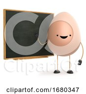 Poster, Art Print Of 3d Cute Toy Egg Teaches At The Blackboard