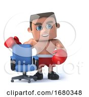 3d Boxer Has An Empty Office Chair