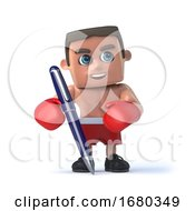3d Boxer Has A Pen