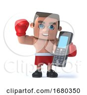 3d Boxer Makes A Call On His Cellphone