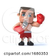 3d Boxer Is Using A Microphone