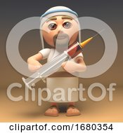 3d Cartoon Jesus Christ Character Holding A Medical Syringe Full Of Drugs 3d Illustration