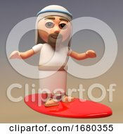Poster, Art Print Of Cartoon 3d Jesus Christ Character Surfing On His Surfboard 3d Illustration