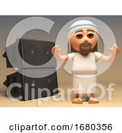 3d Cartoon Jesus Christ Character Stands In Front Of A Speaker Sound System For Clubs 3d Illustration