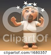 3d Cartoon Jesus Christ Character Is Dizzy With Stars In Front Of His Eyes 3d Illustration