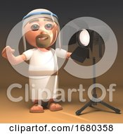 Cartoon Jesus Christ Character In 3d Standing In Front Of A Studio Light 3d Illustration