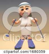 Cartoon 3d Jesus Christ Character Skiing On Skis 3d Illustration