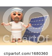 3d Cartoon Jesus Christ Character Standing Next To A Renewable Energy Solar Power Cell Panel 3d Illustration