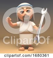 3d Cartoon Jesus Christ Character Holding A Spanner 3d Illustration