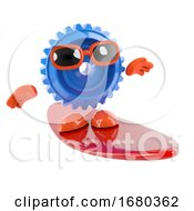 Poster, Art Print Of 3d Cog Goes Surfing