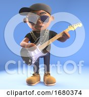Poster, Art Print Of 3d Cartoon Black Hiphop Rapper Emcee Character Playing An Electric Guitar 3d Illustration