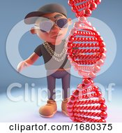 Cartoon 3d Black Hiphop Rapper Emcee Character Looking At Genetic Dna Double Helix 3d Illustration