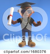 3d Cartoon Black Hiphop Rapper Emcee Character Matriculating With Mortar Board And Diploma Scroll 3d Illustration