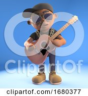 Poster, Art Print Of Cartoon 3d Black Hiphop Rapper Emcee Character Playing An Acoustic Guitar 3d Illustration