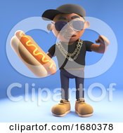 Black 3d Cartoon Hiphop Rapper Emcee Character Eating A Hotdog Hot Dog 3d Illustration
