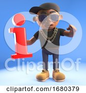 3d Black Hiphop Rapper Emcee Character Holding A Red Information Symbol 3d Illustration