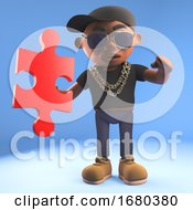 3d Cartoon Black Hiphop Rapper Emcee In Baseball Cap Holding A Piece Of A Jigsaw Puzzle 3d Illustration