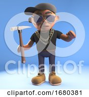 Cartoon 3d Black Hiphop Rapper Character Holding A Hammer 3d Illustration