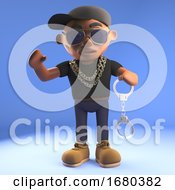 3d Cartoon Black Hiphop Rapper In Baseball Cap Holding A Pair Of Handcuffs 3d Illustration
