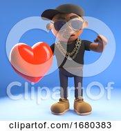Poster, Art Print Of 3d Cartoon Black Hiphop Rapper Character Holding A Red Romantic Heart 3d Illustration