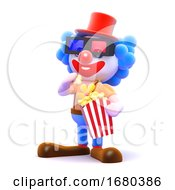 3d Clown Eating Popcorn At The Cinema