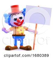 3d Clown Holds Up A Placard
