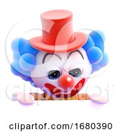 3d Clown Peeps Over