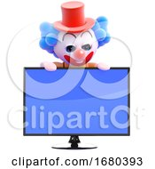 3d Clown Widescreen Television Monitor