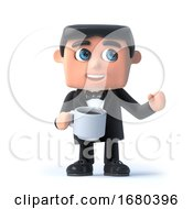 Poster, Art Print Of 3d Bow Tie Spy Has A Cup Of Tea