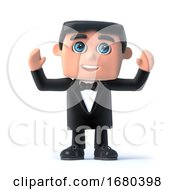 3d Bow Tie Spy Raises His Hands In The Air