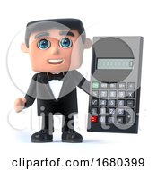 Poster, Art Print Of 3d Bow Tie Spy Uses A Calculator