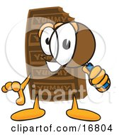 Chocolate Candy Bar Mascot Cartoon Character Looking Through A Magnifying Glass by Toons4Biz