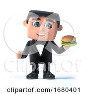 3d Bow Tie Spy Has A Burger