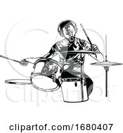 Black And White Drummer