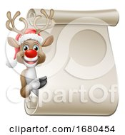 Santa Hat Reindeer Christmas Scroll Sign Cartoon