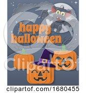 09/21/2019 - Happy Halloween Vampire Bat Pumpkin Background
