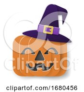 Halloween Witch Hat Pumpkin In Paper Craft Style by AtStockIllustration