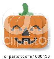 09/21/2019 - Halloween Pumpkin Cartoon In Paper Craft Style
