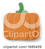 Pumpkin Cartoon Vegetable In Papercraft Style