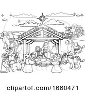 Nativity Scene Christmas Cartoon