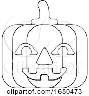 Halloween Pumpkin Cartoon In Outline