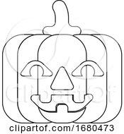 09/24/2019 - Halloween Pumpkin Cartoon In Outline