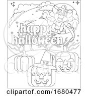 Happy Halloween Vampire Bat Pumpkin Coloring Page