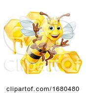 Queen Bumble Bee In Crown Honeycomb Cartoon