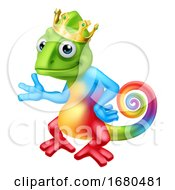 Chameleon King Crown Cartoon Lizard Character
